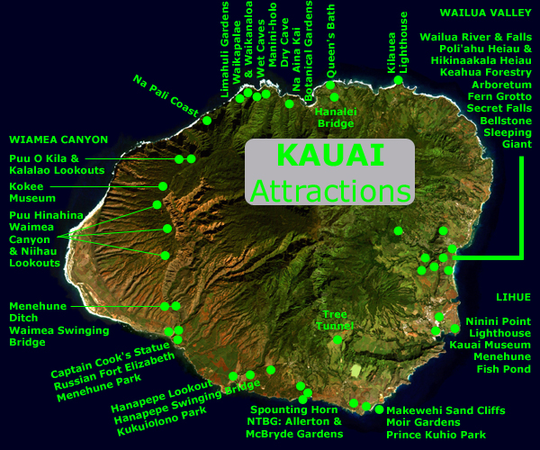 The SANDWICH ISLANDS – Kauai Tourist Map