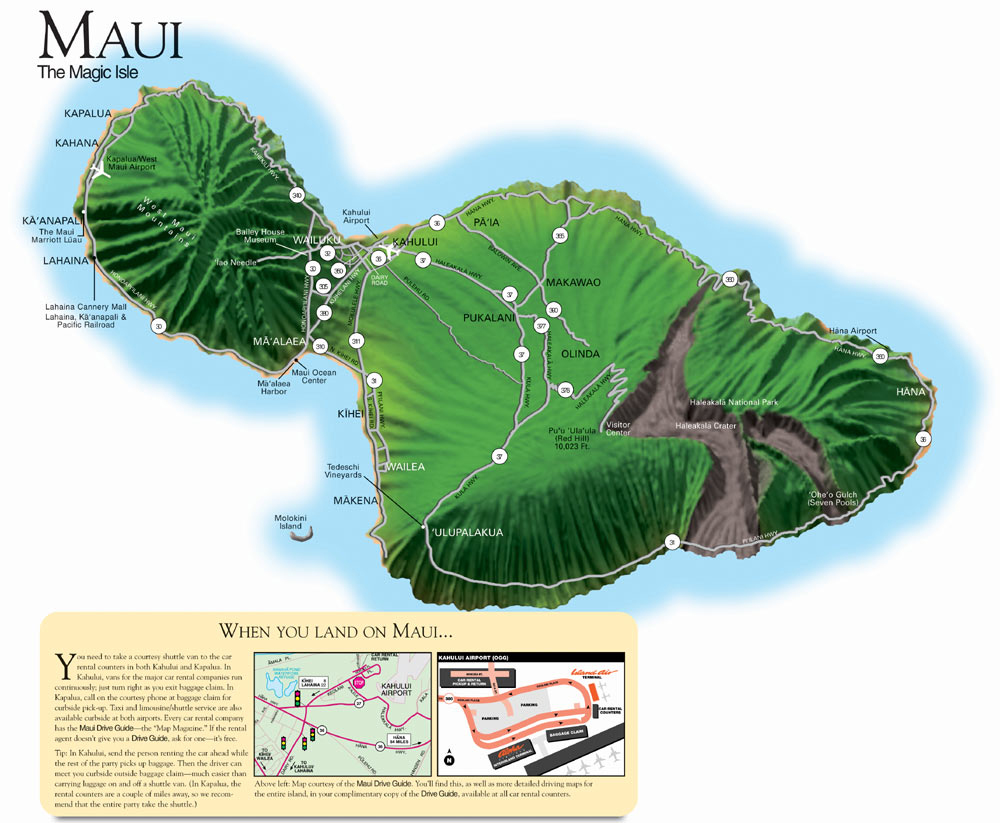Topographic Map Of Maui.The Sandwich Islands Com
