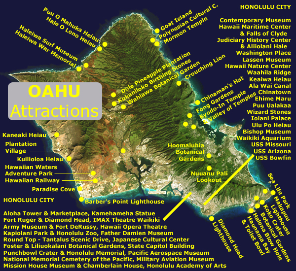 The SANDWICH ISLANDS – Oahu Tourist Map